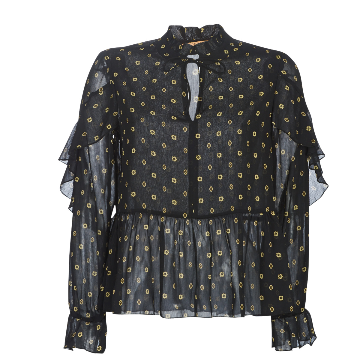 Bluser Maison Scotch  SHEER PRINTED TOP WITH RUFFLES