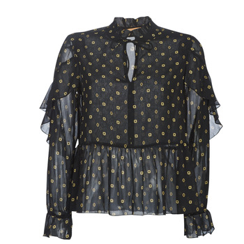 textil Dame Toppe / Bluser Maison Scotch SHEER PRINTED TOP WITH RUFFLES Sort