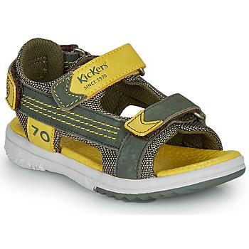 Sko Dreng Sandaler Kickers PLANE Kaki / Gul