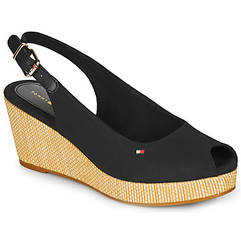 Sko Dame Sandaler Tommy Hilfiger ICONIC ELBA SLING BACK WEDGE Sort