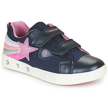 Sko Pige Lave sneakers Geox J SKYLIN GIRL Marineblå / Pink