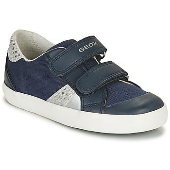Sko Pige Lave sneakers Geox B GISLI GIRL Marineblå / Sølv