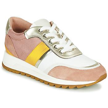 Sko Dame Lave sneakers Geox D TABELYA Pink / Hvid / Gul