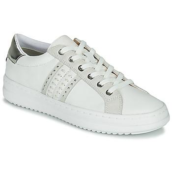 Sko Dame Lave sneakers Geox D PONTOISE Hvid / Sølv