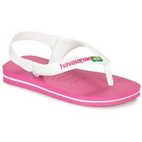 Sko Pige Klipklapper  Havaianas BABY BRASIL LOGO II Pink / Hvid