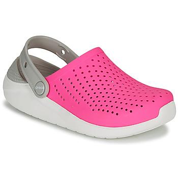 Sko Pige Træsko Crocs LITERIDE CLOG K Pink / Hvid