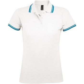 textil Dame Polo-t-shirts m. korte ærmer Sols PASADENA MODERN WOMEN Blanco