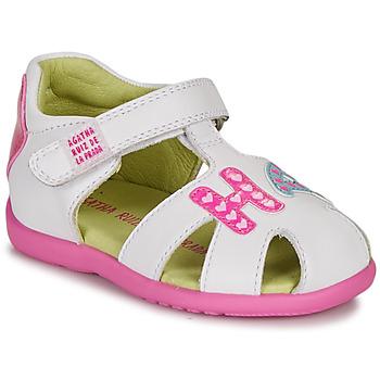 Sko Pige Sandaler Agatha Ruiz de la Prada HAPPY Hvid / Pink