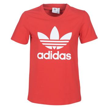 textil Dame T-shirts m. korte ærmer adidas Originals TREFOIL TEE Rød / Frodig
