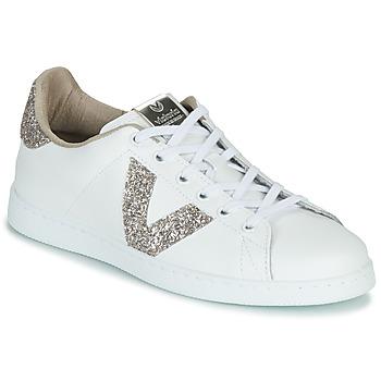 Sko Dame Lave sneakers Victoria TENIS PIEL GLITTER Hvid / Pink