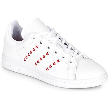 Sko Pige Lave sneakers adidas Originals STAN SMITH J Hvid / Rød / CŒur
