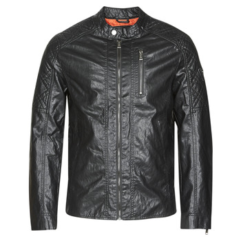 textil Herre Jakker i læder / imiteret læder Guess QUILTED ECO LEATHER JACKET Sort