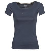 textil Dame T-shirts m. korte ærmer Esprit T-Shirts logo Marineblå