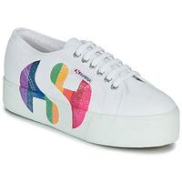 Sko Dame Lave sneakers Superga 2790-COTWPRINTEDLOGOGLITTER Hvid