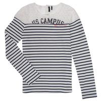 textil Pige Langærmede T-shirts Ikks DELLYSE Hvid / Sort