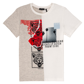 textil Dreng T-shirts m. korte ærmer Ikks RULIO Beige / Hvid