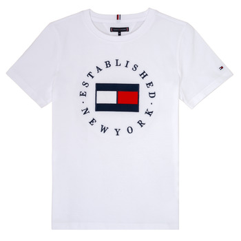textil Dreng T-shirts m. korte ærmer Tommy Hilfiger KB0KB05718 Hvid