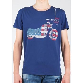 textil Herre T-shirts m. korte ærmer Wrangler S/S Biker Flag Tee W7A53FK 1F navy