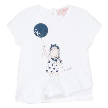 textil Pige T-shirts m. korte ærmer Lili Gaufrette NALIOS Hvid