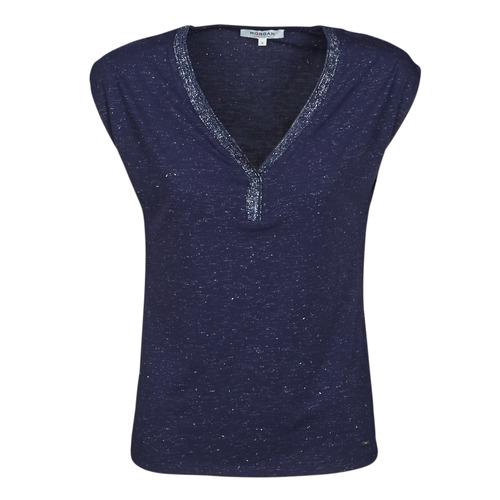 textil Dame T-shirts m. korte ærmer Morgan DMAYA Marineblå