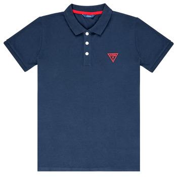 textil Dreng Polo-t-shirts m. korte ærmer Guess HOSNI Marineblå