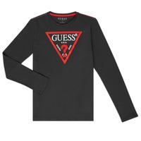textil Dreng Langærmede T-shirts Guess HERVE Sort