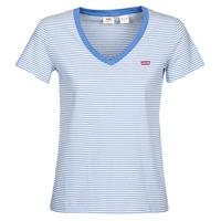 textil Dame T-shirts m. korte ærmer Levi's PERFECT VNECK Hvid / Blå