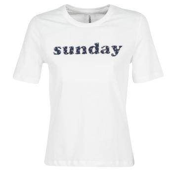 textil Dame T-shirts m. korte ærmer Only ONLSANNE Hvid