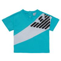 textil Dreng T-shirts m. korte ærmer Emporio Armani Alois Blå / Hvid