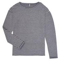 textil Pige Langærmede T-shirts Only KONNELLY Hvid / Marineblå