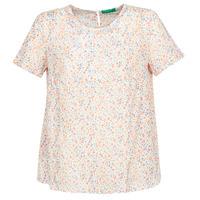 textil Dame Toppe / Bluser Benetton  Hvid / Flerfarvet