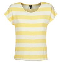 textil Dame T-shirts m. korte ærmer Vero Moda  Gul / Hvid