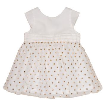 textil Pige Korte kjoler Petit Bateau FAVORITE Hvid / Gylden