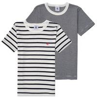 textil Dreng T-shirts m. korte ærmer Petit Bateau 53333 Hvid / Blå