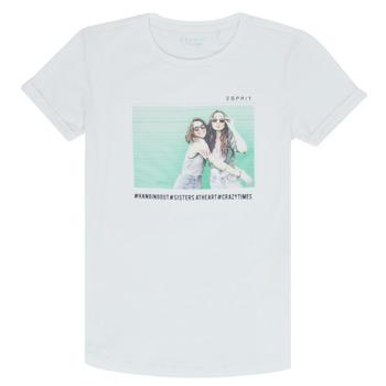 textil Pige T-shirts m. korte ærmer Esprit ELISH Hvid