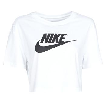textil Dame T-shirts m. korte ærmer Nike W NSW TEE ESSNTL CRP ICN FTR Hvid / Sort