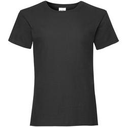textil Pige T-shirts m. korte ærmer Fruit Of The Loom Valueweight Black