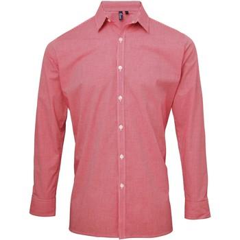 textil Herre Skjorter m. lange ærmer Premier Microcheck Red/White