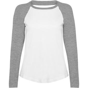 textil Dame Langærmede T-shirts Skinni Fit SK271 White / Heather Grey