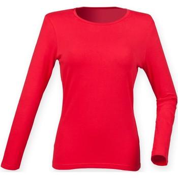 textil Dame Langærmede T-shirts Skinni Fit SK124 Bright Red