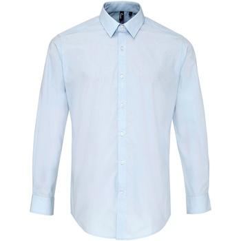 textil Herre Skjorter m. lange ærmer Premier PR207 Light Blue