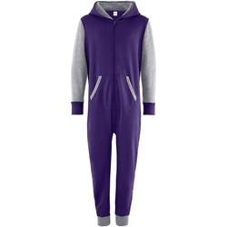 textil Børn Buksedragter / Overalls Comfy Co CC03J Purple/Heather Grey