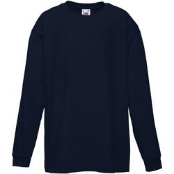 textil Børn Langærmede T-shirts Fruit Of The Loom 61007 Deep Navy