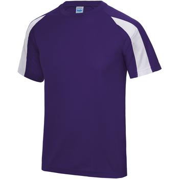 textil Herre T-shirts m. korte ærmer Just Cool JC003 Purple/Arctic White