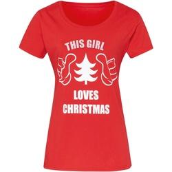 textil Dame T-shirts m. korte ærmer Christmas Shop CJ212 Red