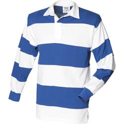 textil Herre Polo-t-shirts m. lange ærmer Front Row FR08M White & Royal (White collar)