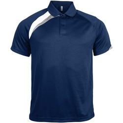 textil Herre Polo-t-shirts m. korte ærmer Kariban Proact PA457 Navy/ White/ Storm Grey