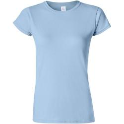 textil Dame T-shirts m. korte ærmer Gildan Soft Light Blue