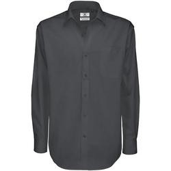 textil Herre Skjorter m. lange ærmer B And C SMT81 Dark Grey