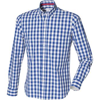 textil Herre Skjorter m. lange ærmer Front Row FR500 Blue Check